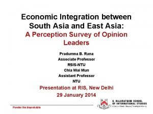 Economic Integration between South Asia and East Asia