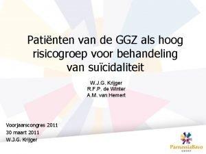 Patinten van de GGZ als hoog risicogroep voor