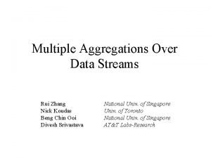 Multiple Aggregations Over Data Streams Rui Zhang Nick