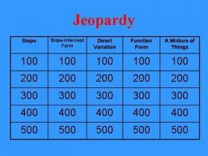 Jeopardy SlopeIntercept Form Direct Variation Function Form A