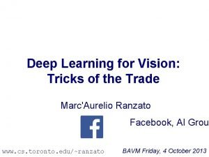 Deep Learning for Vision Tricks of the Trade