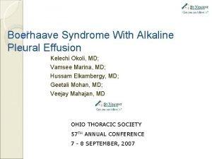 Boerhaave Syndrome With Alkaline Pleural Effusion Kelechi Okoli