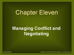 Chapter Eleven Managing Conflict and Negotiating Mc GrawHillIrwin