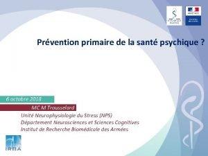 Prvention primaire de la sant psychique 6 octobre
