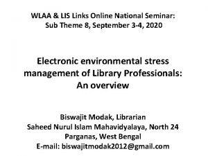 WLAA LIS Links Online National Seminar Sub Theme