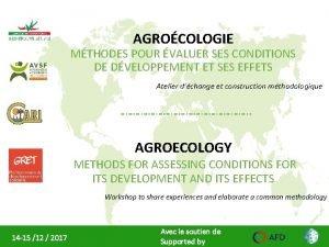 AGROCOLOGIE MTHODES POUR VALUER SES CONDITIONS DE DVELOPPEMENT