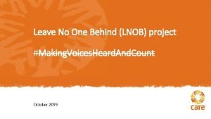 Leave No One Behind LNOB project Making Voices
