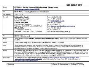 IEEE C 802 20 0579 Project IEEE 802