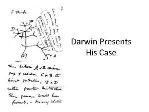 Darwin Presents His Case Darwin waited 20 years