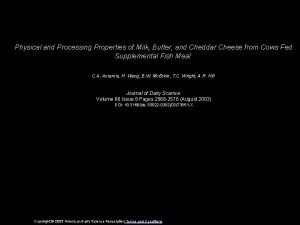 Physical and Processing Properties of Milk Butter and