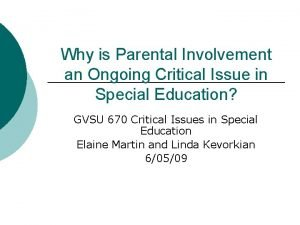 Why is Parental Involvement an Ongoing Critical Issue