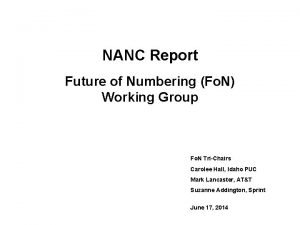 NANC Report Future of Numbering Fo N Working