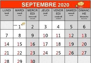 SEPTEMBRE 2020 LUNDI MARDI lundi mardi MERCR EDI