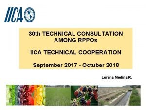 30 th TECHNICAL CONSULTATION AMONG RPPOs IICA TECHNICAL