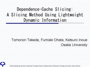 DependenceCache Slicing A Slicing Method Using Lightweight Dynamic