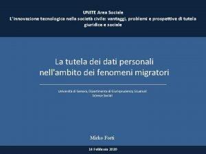 UNITE Area Sociale Linnovazione tecnologica nella societ civile
