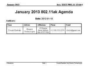 January 2013 doc IEEE P 802 11 1364