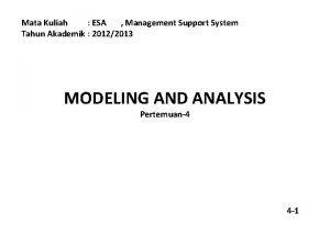 Mata Kuliah ESA Management Support System Tahun Akademik