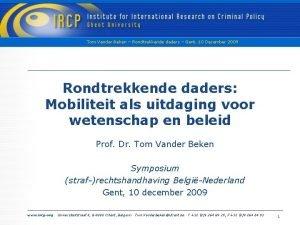 Tom Vander Beken Rondtrekkende daders Gent 10 December
