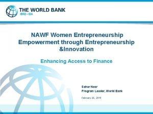 NAWF Women Entrepreneurship Empowerment through Entrepreneurship Innovation Enhancing