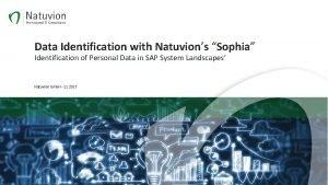 Data Identification with Natuvions Sophia Identification of Personal
