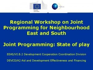 Regional Workshop on Joint Programming for Neighbourhood East
