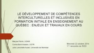 LE DVELOPPEMENT DE COMPTENCES INTERCULTURELLES ET INCLUSIVES EN