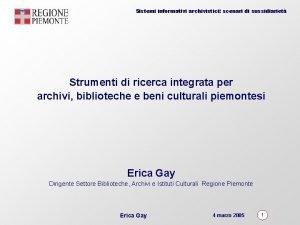 Sistemi informativi archivistici scenari di sussidiariet Strumenti di