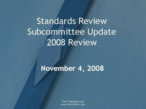 Standards Review Subcommittee Update 2008 Review November 4