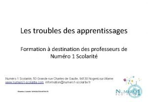 Les troubles des apprentissages Formation destination des professeurs