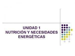 UNIDAD 1 NUTRICIN Y NECESIDADES ENERGTICAS Nutricin conjunto