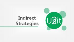 Indirect Strategies Unit 2 Content Indirect Strategies METACOGNITIVE