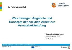 Dr HeinzJrgen Stolz Was bewegen Angebote und Konzepte