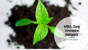 MBO Zorg Innovatie Netwerk Plan van aanpak 1