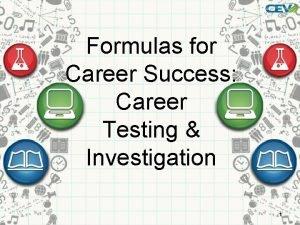 Formulas for Career Success Career Testing Investigation 1