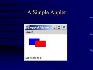 A Simple Applet Applets and applications An applet