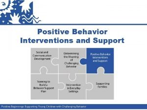 Positive Behavior Interventions and Support Positive Beginnings Supporting