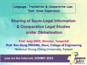 Language Translation Comparative Law East Asian Experience Sharing