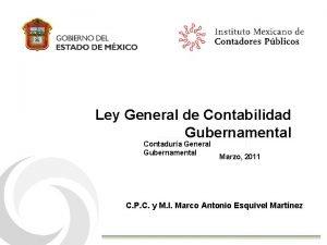 Ley General de Contabilidad Gubernamental Contadura General Gubernamental