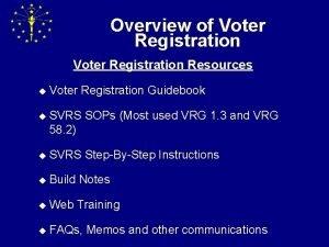 Overview of Voter Registration Resources u Voter Registration