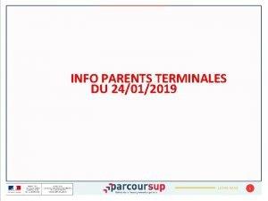 INFO PARENTS TERMINALES DU 24012019 JJMMAAAA 1 CALENDRIER