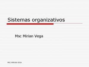 Sistemas organizativos Msc Mirian Vega MSC MIRIAN VEGA