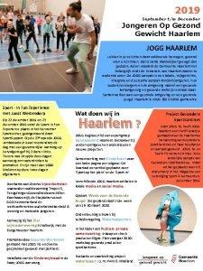 2019 September tm December Jongeren Op Gezond Gewicht