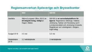 Regionsamverkan Sydsverige och Brysselkontor SEO SBHSS Uppdrag Strka