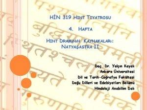 HN 319 HINT TIYATROSU 4 HAFTA HINT DRAMNN