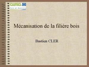 Mcanisation de la filire bois Bastien CLER Bastien