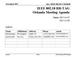 November 2017 doc IEEE 802 18 170130 r