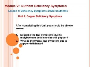 Module VI Nutrient Deficiency Symptoms Lesson 4 Deficiency