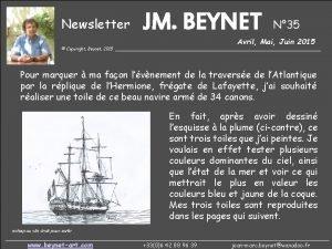 Newsletter JM BEYNET N 35 Avril Mai Juin