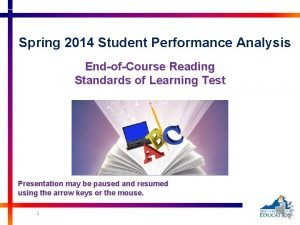 Spring 2014 Student Performance Analysis EndofCourse Reading Standards